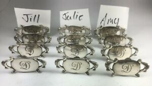 Vintage Sterling Silver Place Card Holders Set Of 12 Initial D Sz 1 4 M150