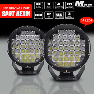 Pair 9inch 185w Cree Round Black Led Spot Driving Lights Offroad 4x4 Atv Work