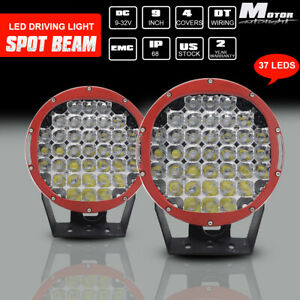 2x 9inch 185w Led Cree Round Red Driving Spot Work Lights Offroad Suv Spotlights
