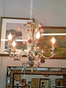 Vintage Italian Tole Painted 5 Arm Floral Chandelier Light Fixture