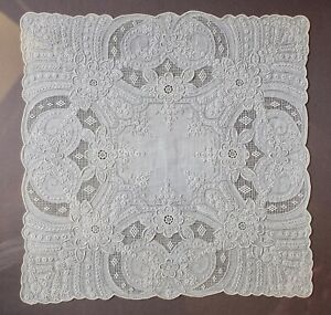 Exquisite Appenzell Embroidered Linen Lace Bridal Handkerchief