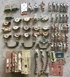 Huge Lot Of 67 Cast Iron Antique Window Sash Latches Chain Door Locks More