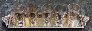 Vintage Mexican Sterling Silver Overlay Shot Glasses Sterling Silver Tray