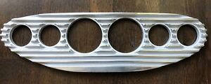 Hot Rod Gasser Rat Rod Finned Aluminum 6 gauge Dash Panel 3 3 8 Inch