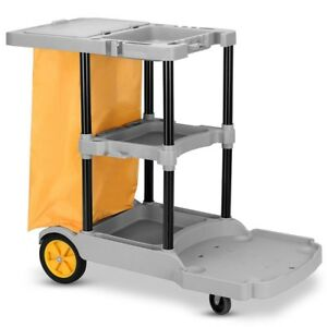 Commercial Janitorial Cleaning Cart 3 Shelf Housekeeping Rolling Ultility Cart