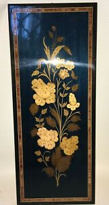 Vintage Inlaid Wood Marquetry Floral Flower Wall Plaque Sorrento Italy Rare Blue