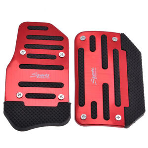 2x Universal Non Slip Red Racing Sports Automatic Car Gas Brake Pedals Cover Us