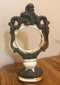 Vintage Ornate Cast Iron Victorian Standing Mirror Picture Frame