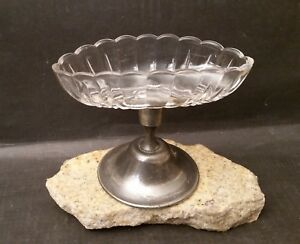 Antique Silverplate Glass Pedestal Pickle Relish Candy Dish