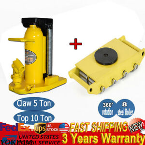 26400lbs Machinery Dolly Mover With Jack Stands 5 Ton Top 10 T Toe Jack Lift