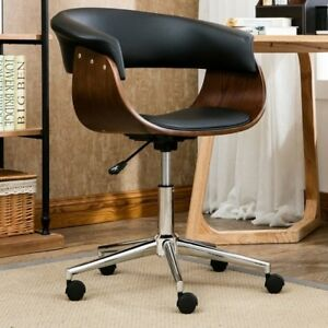 Midcentury Rolling Office Desk Chair Swivel Faux Leather Wood Retro Modern Black