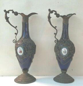 Nice Pair Of Antique Cobalt Porcelain Ewer With Figural Handles Mounted French