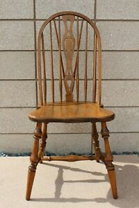 Solid Wood Fiddleback Windsor Dining Side Chair Maple Vintage Antique Very Good