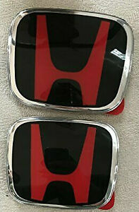 Jdm Red Black H New Emblem Front And Rear For 2018 2019 Accord 4dr Sedan Coupe