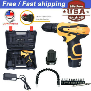 12 Volt Drill 2 Speed Electric Cordless Drill Driver With Bits Set 2 Batteries H