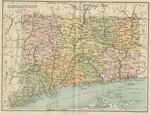 Connecticut Map Authentic 1897 Shows Counties Cities Towns Topography Rrs