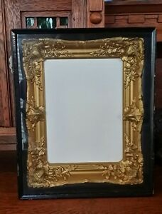 Antique Gold Gilt Frame In Shadow Box For Victorian Painting For 12 X 9 Art