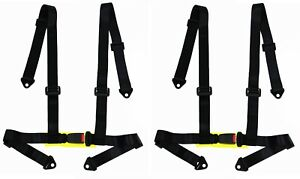 2 X Logo Free 4 point Buckle Sports Racing Harness Seat Belt black