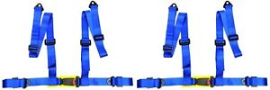 2 X Logo Free 4 Point Buckle Sports Racing Harness Seat Belt Blue