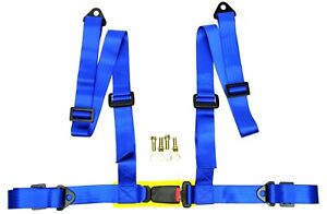 Logo Free 4 Point Buckle Sports Racing Harness Seat Belt Blue