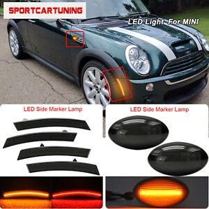 Smoked Front Rear Led Side Marker Turn Signal Lights For Mini Cooper R50 R53 R52