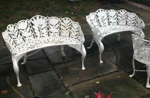 Pair Of Antique Cast Iron Figural Winged Griffin Garden Benches Signed Hart