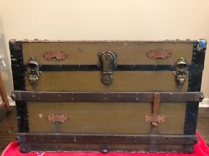 Early 1900s Flat Top Steamer Trunk Crossed The Atlantic
