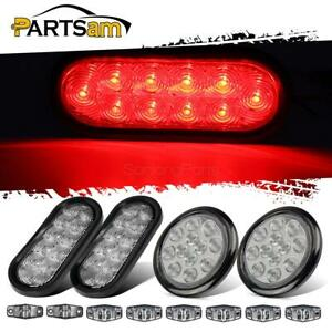 12 Red Stop Turn Tail Light Red Amber Side Marker Lamp Flush Mount Clear Lens