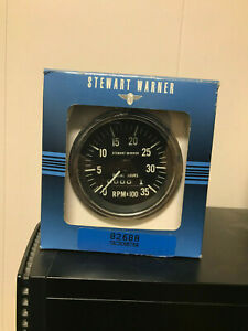 Stewart Warner Tachometer W 3500rpm Range And Built In Odometer