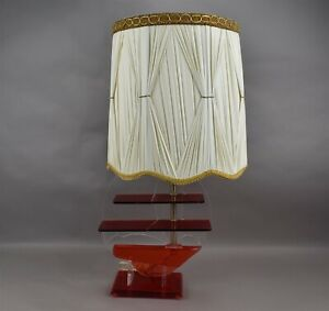 Vintage Mcm Table Lamp Red Lucite Acrylic Sailboat Electric Boat Modernist