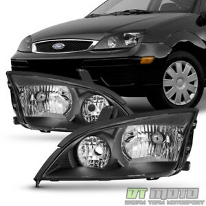 Black 2005 2006 2007 Ford Focus Zx4 Headlights Headlamps Aftermarket Left right
