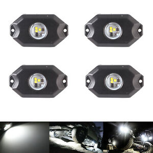 4x White 9w Cree Led Rock Lights For Car Boat Jeep Truck Bed Under Body Fog Lamp
