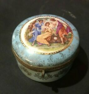 Antique German Porcelain Scenic Portrait Decorated Covered Jewelry Box