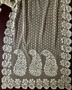 Long Early 1800s Needlerun Embroidered Net Lace Paisley Shawl Costume Collect