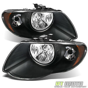 Black 2005 2007 Chrysler Town Country Headlights Headlamps 05 06 07 Left Right
