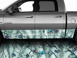 Rocker Panel Truck Wrap Forest Camo Teal Truck Side Decals Camouflage