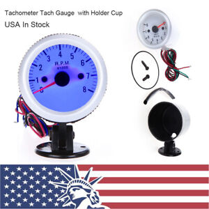 Tachometer Tach Gauge With Holder Cup Led For Auto Car 2 52mm 0 8000rpm Us Y3t2
