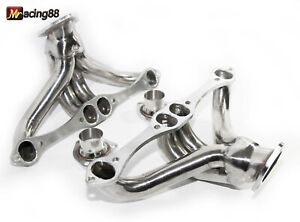 For Chevy Small Block 262 400 V8 Angle Plug Head Exhaust Manifold Hugger He