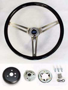 70 77 Mustang Maverick Torino 15 Black Wood Steering Wheel High Gloss Ford Cap