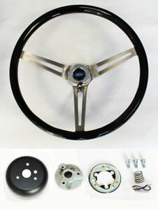 1958 1963 Ford Ranchero 15 Wood Steering Wheel Black High Gloss Grip