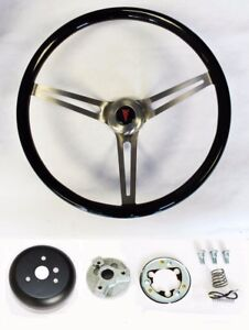 1964 1966 Pontiac Gto Black Wood Steering Wheel 15 High Gloss Grip
