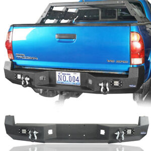 Textured Rear Bumper W Led Floodlight 2x D Rings For Toyota Tacoma 2005 2015