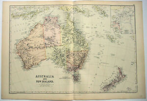 Original 1882 Map Of Australia New Zealand By Blackie Son Antique