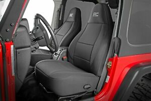 Rough Country Neoprene Seat Covers Black 1997 2002 Jeep Wrangler Tj Set 91000
