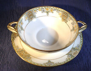 Noritake Nippon Double Handled Bouillon Cup Saucer Hand Painted Deco Japan