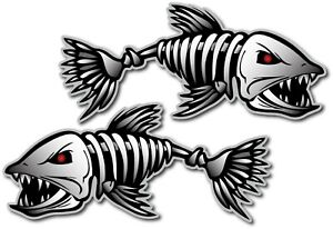 2x Skeleton Fish Decal Sticker 3m Usa Made Truck Vehicle Window Wall Car Boat