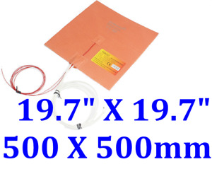 19 7 X 19 7 500 X 500mm W 3m 3d Printer Heatbed Plate Silicone Heating Pad
