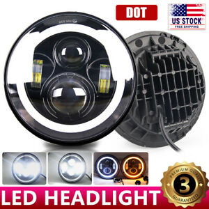 7 Inch Round Led Headlight Halo Angle Eyes For Jeep 97 2017 Wrangler Jk Lj Tj