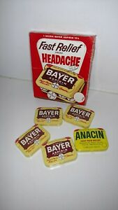 Vintage Advertising Bayer Fast Pain Relief Store Display 4 Tin Unopen Box Anacin