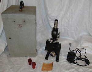 Vintage American Optical Ao Spencer Microscope Case Lenses Light Source Eyepiece
